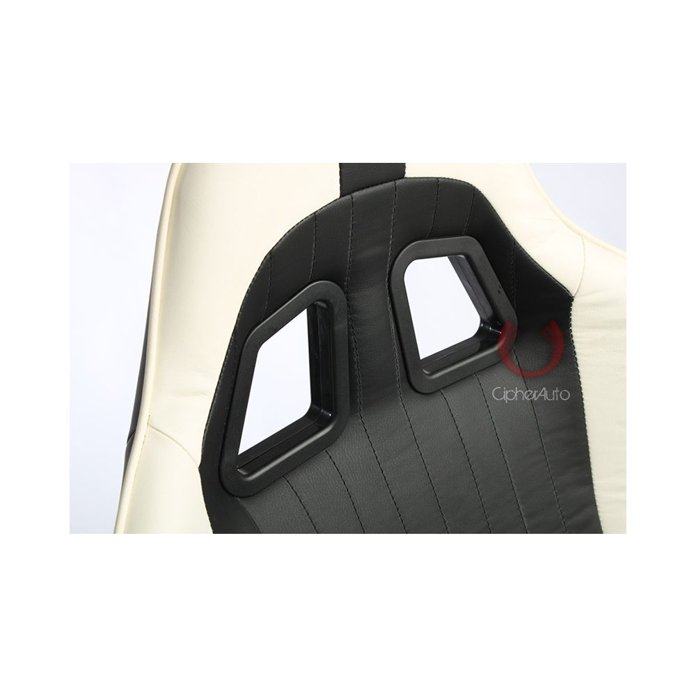 Cipher Auto ® - Black and white Leatherette Office Racing Seat (CPA5001PBKWH)