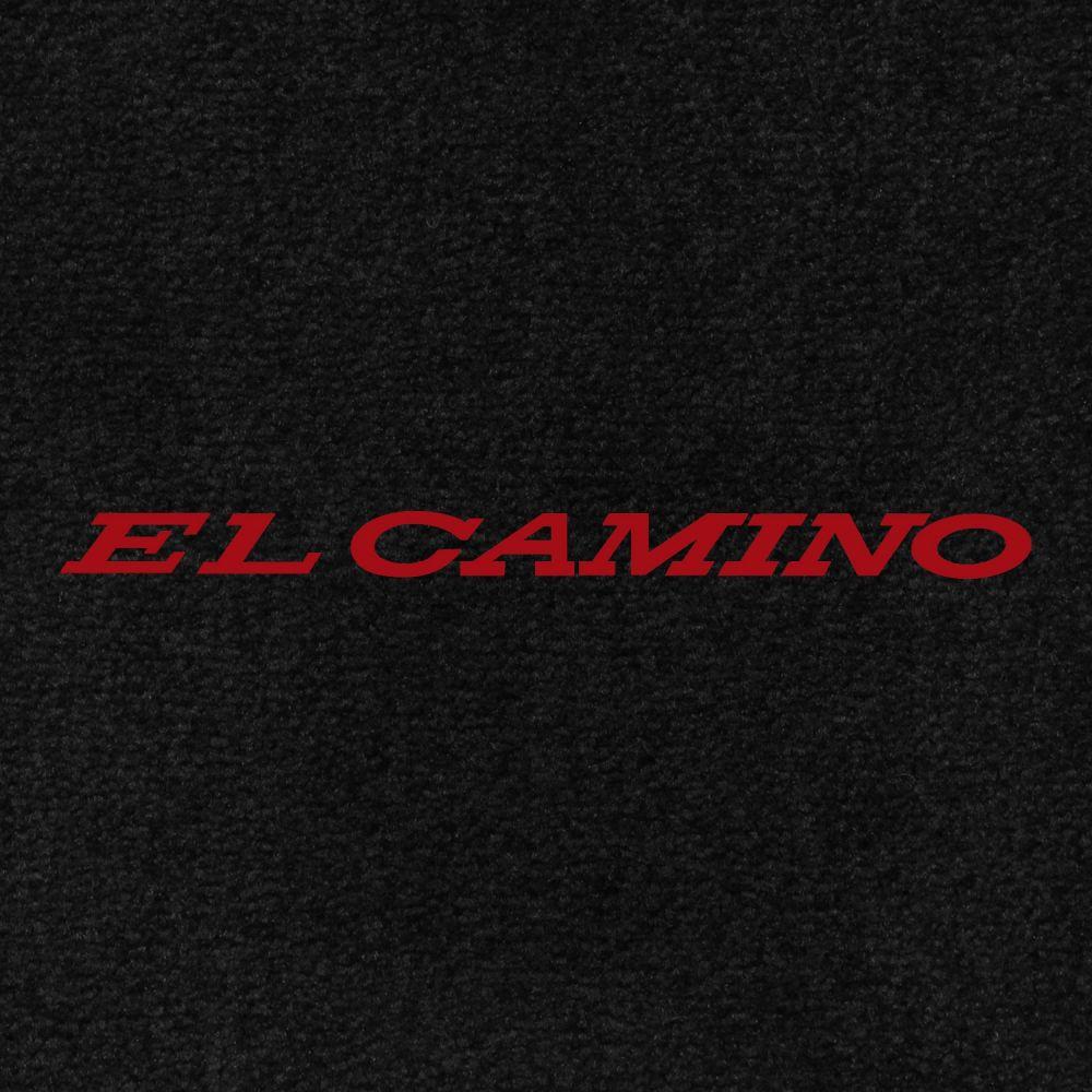Lloyd Mats ® - Velourtex Black Front Floor Mats For Chevrolet El Camino 1966 With El Camino Red Embroidery