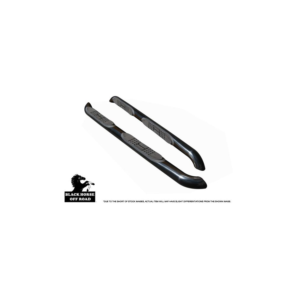 Black Horse Off Road ® - Black 3 Inch Round Side Steps (9NE07A)
