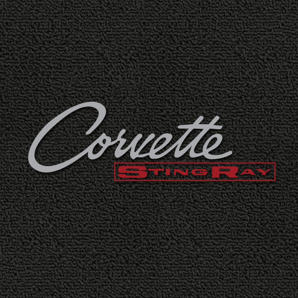 Lloyd Mats ® - Classic Loop Black Front Floor Mats For Corvette C2 with Corvette Silver Script Logo and Red Stingray Embroidery