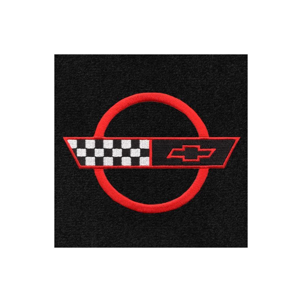 Lloyd Mats ® - Classic Loop Black Front Floor Mats For Corvette C4 91-96 with Corvette Red Applique