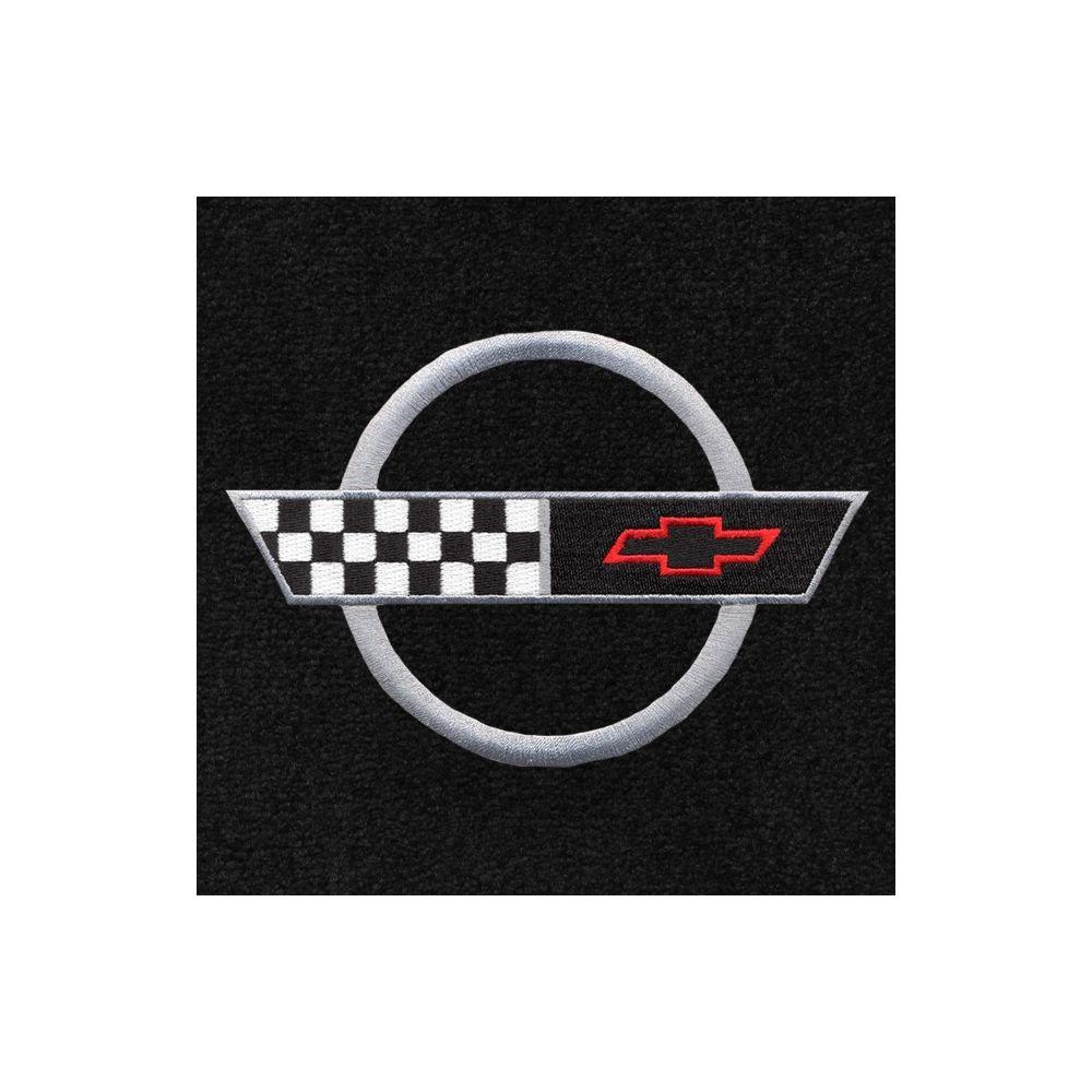 Lloyd Mats ® - Classic Loop Black Front Floor Mats For Corvette C4 91- 96 with Corvette Silver Applique