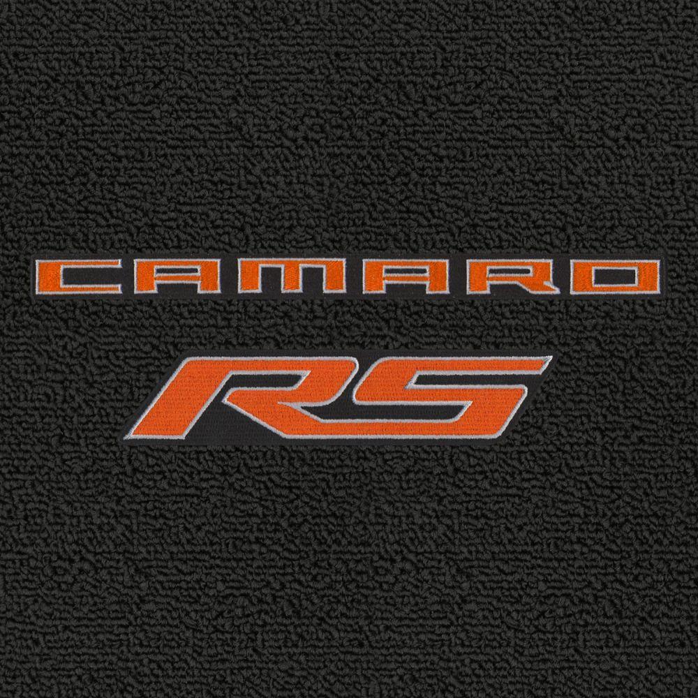 Lloyd Mats ® - Classic Loop Ebony Front Floor Mats For Chevrolet Camaro 2010-15 with Orange Camaro RS Script Logo