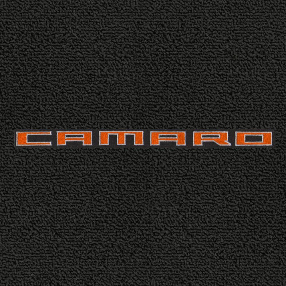 Lloyd Mats ® - Classic Loop Ebony Front Floor Mats For Chevrolet Camaro 2010-15 with Orange Camaro Script