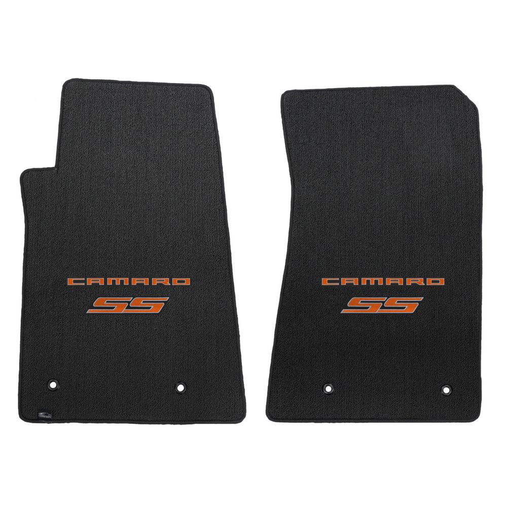 Lloyd Mats ® - Classic Loop Ebony Front Floor Mats For Chevrolet Camaro 2010-15 with Orange Camaro SS Script Logo