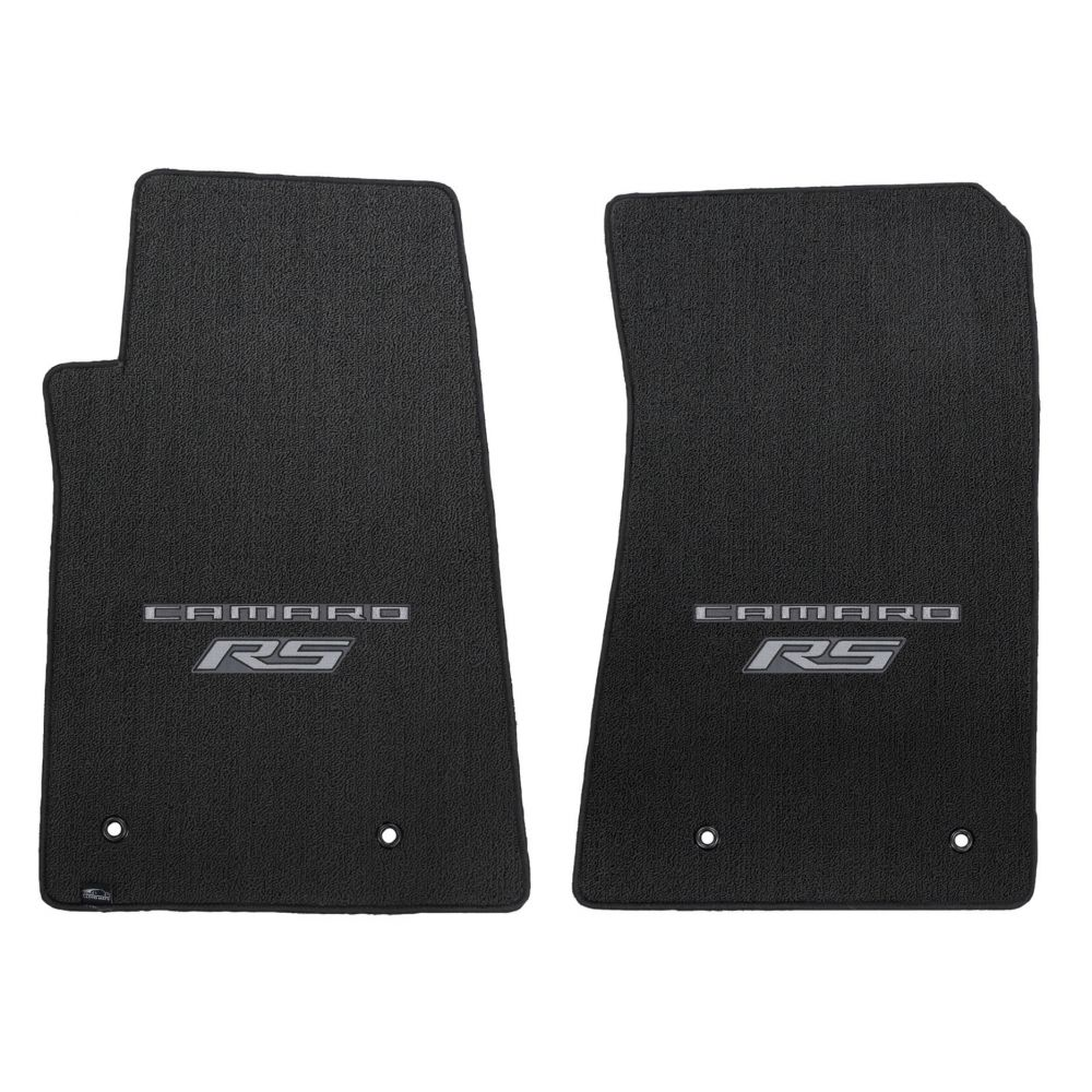 Lloyd Mats ® - Classic Loop Ebony Front Floor Mats For Chevrolet Camaro 2010-15 with Silver Camaro RS Script Logo
