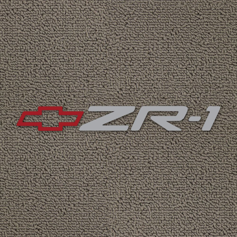 Lloyd Mats ® - Classic Loop Grey Front Floor Mats For Corvette C4 with White ZR-1 and Red Bowtie Embroidery