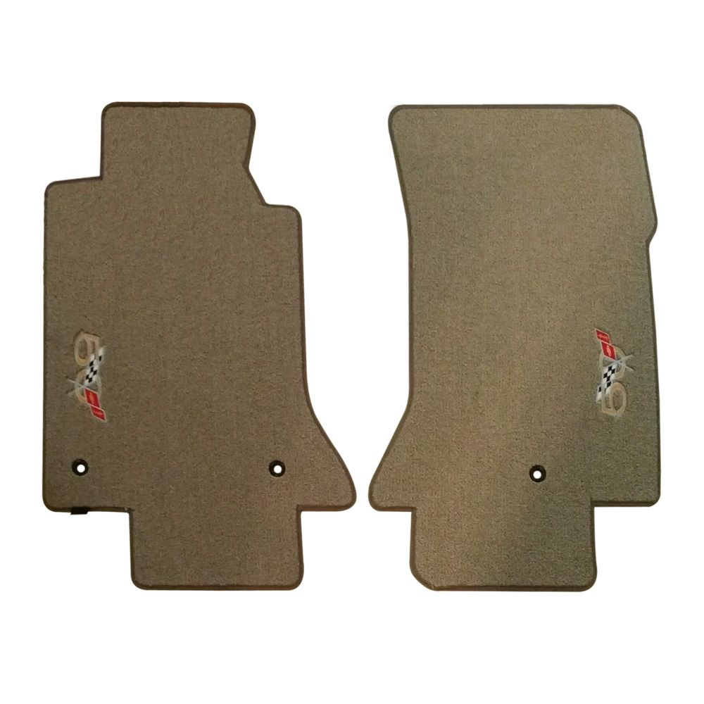 Lloyd Mats ® - Classic Loop Shale Front Floor Mats For Corvette C5 with 50th Anniversary Corvette Applique 1997-2004