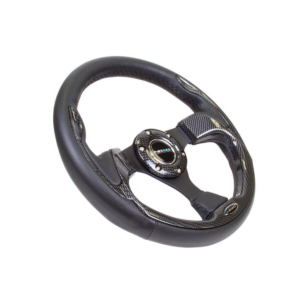NRG ® - 320mm Sport Black Leather Steering Wheel with Carbon Fiber Look Trim (RST-001CBL)