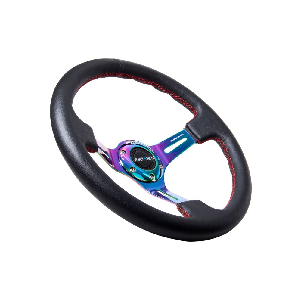 NRG ® - Black Leather Steering Wheel 3 Inch Deep with Red Stitch And Neochrome Spokes (ST-055R-MCRS)