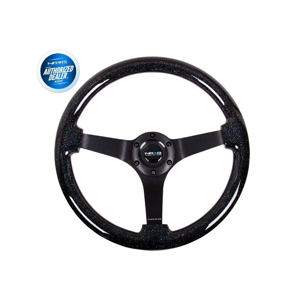 NRG ® - Black Sparkled Wood Grain Steering Wheel 3 Inch Deep with 3 Black Spoke Center (ST-036BSB-BK)