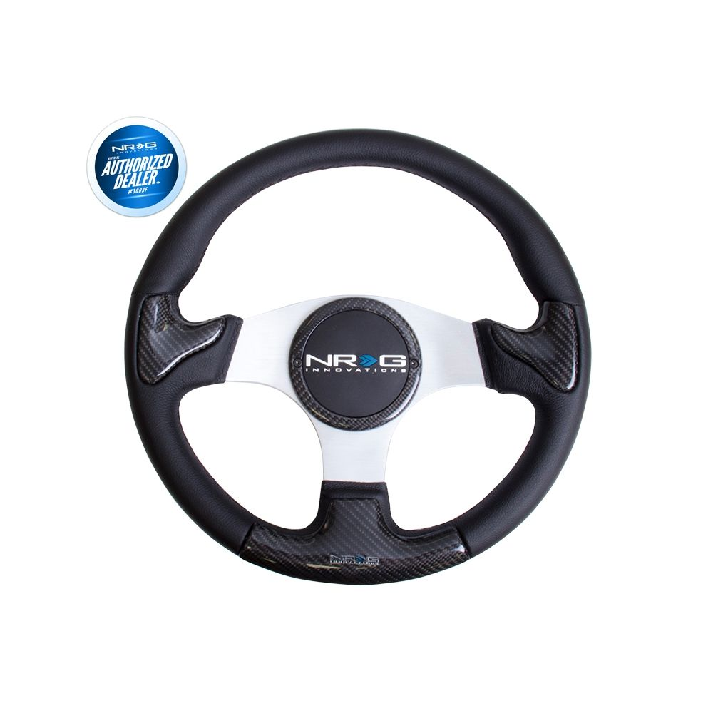 NRG ® - Carbon Fiber Steering Wheel Silver Frame with Black Stitching and Rubber Cover Horn Button (ST-014CFSL)