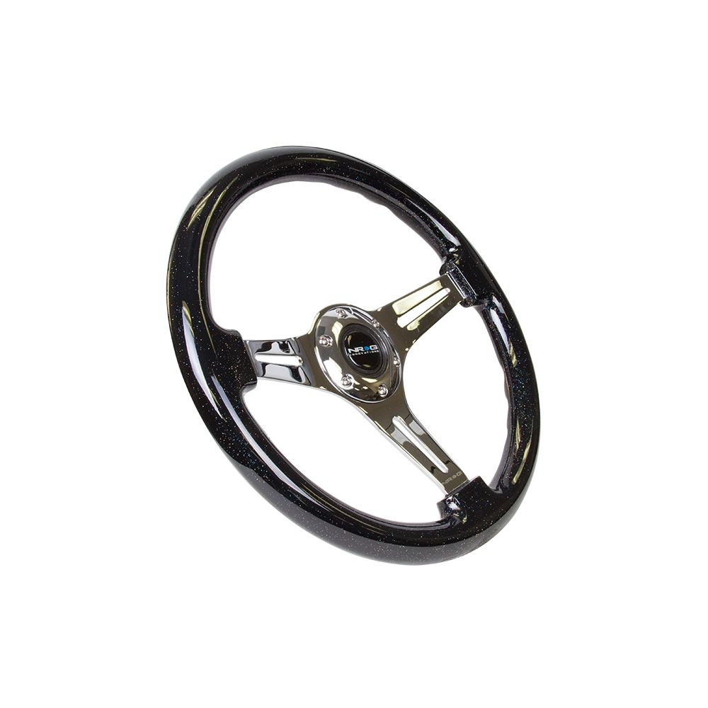 NRG ® - Classic Black Sparkled Wood Grain Steering Wheel with 3 Chrome Spokes (ST-015CH-BSB)