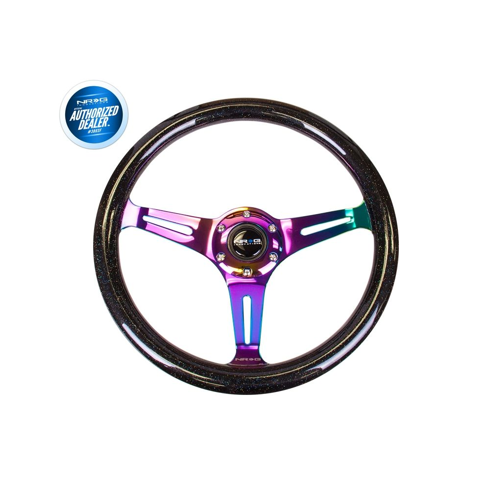 NRG ® - Classic Black Sparkled Wood Grain Steering Wheel with 3 NeoChrome Spokes (ST-015MC-BSB)