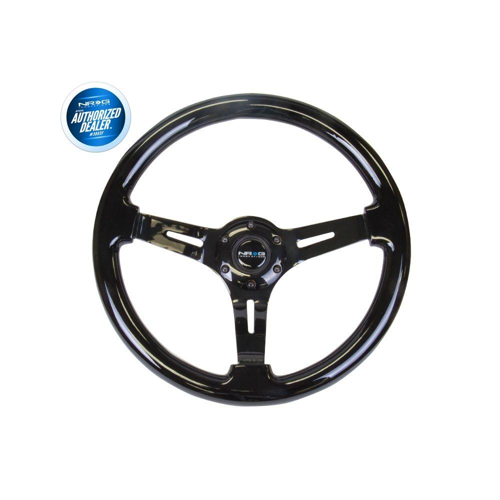 NRG ® - Classic Black Wood Grain Steering Wheel 3 Inch Deep with 3 Black Chrome Spoke Center (ST-055BK-BK)