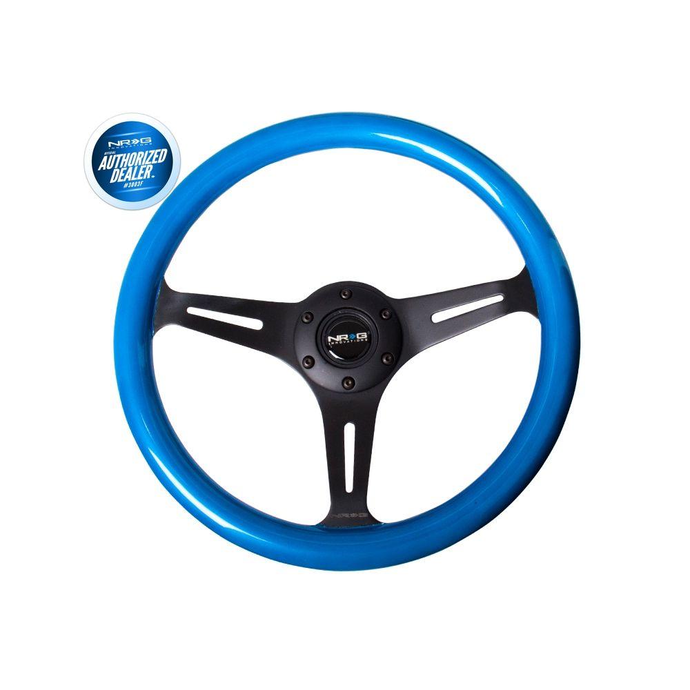NRG ® - Classic Blue Pearl Wood Grain Steering Wheel with 3 Black Spokes (ST-015BK-BL)