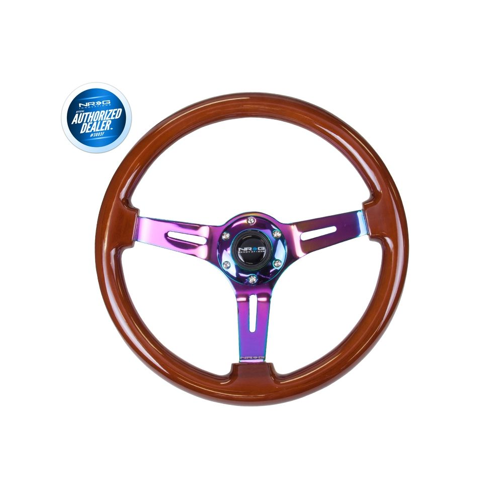 NRG ® - Classic Dark Wood Grain Steering Wheel 3 Inch Deep with 3 NeoChrome Spoke Center (ST-055BR-MC)