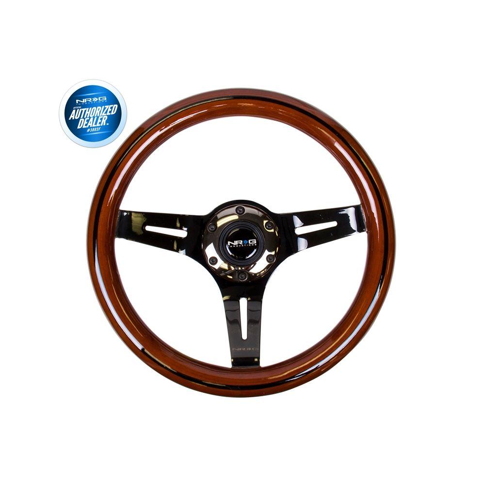 NRG ® - Classic Dark Wood Grain Steering Wheel with Black Line Inlay and 3 Black Chrome Spokes (ST-310BRB-BK)