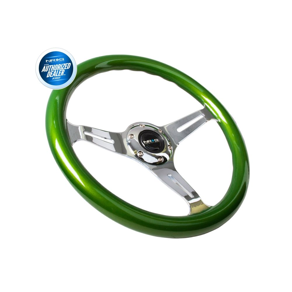 NRG ® - Classic Green Pearl Wood Grain Steering Wheel with 3 Chrome Spokes (ST-015CH-GN)