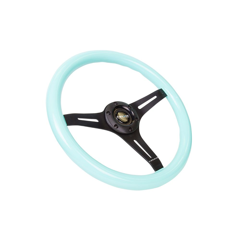 NRG ® - Classic Minty Fresh Wood Grain Steering Wheel with 3 Black Spokes (ST-015BK-MF)