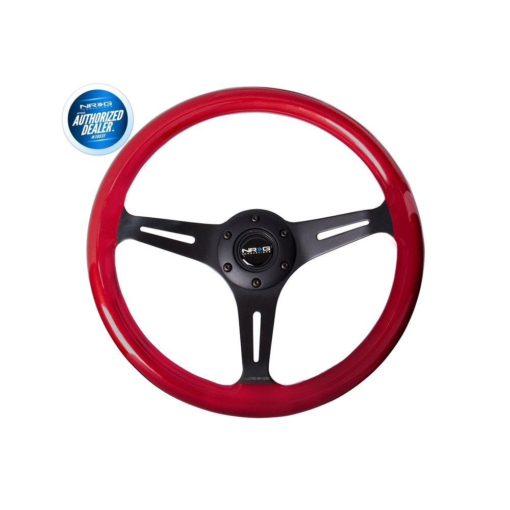 NRG ® - Classic Red Pearl Wood Grain Steering Wheel with 3 Black Spokes (ST-015BK-RD)