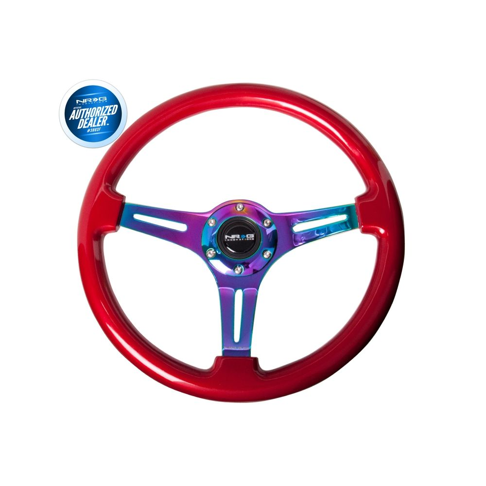 NRG ® - Classic Red Wood Grain Steering Wheel with 3 NeoChrome Spokes (ST-015MC-RD)