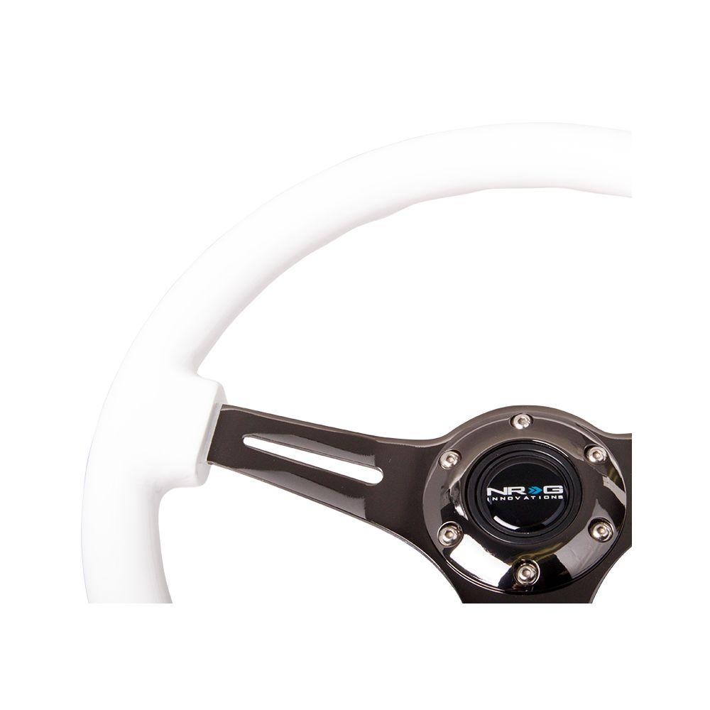 NRG ® - Classic White Wood Grain Steering Wheel with 3 Matte Black Spokes (ST-015BK-WT)
