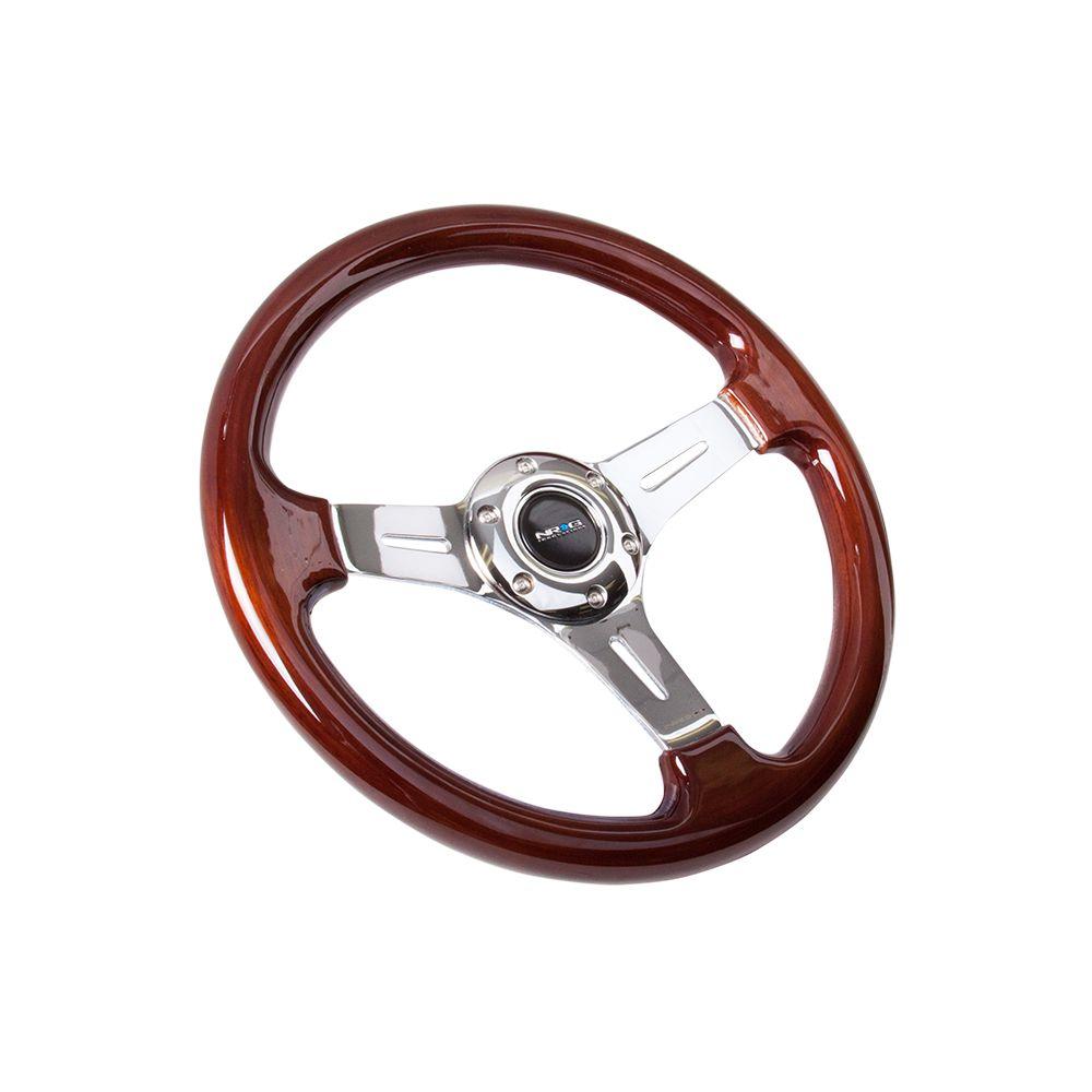 NRG ® - Classic Wood Grain Steering Wheel with 3 Chrome Spoke Center (ST-015-1CH)