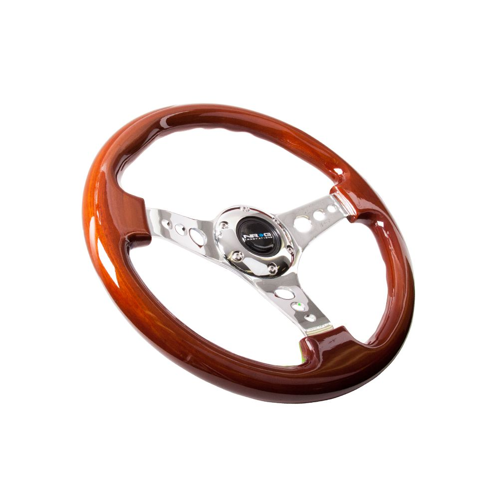 NRG ® - Classic Wood Grain Steering Wheel with 3 Chrome Spoke Center (ST-035CH)