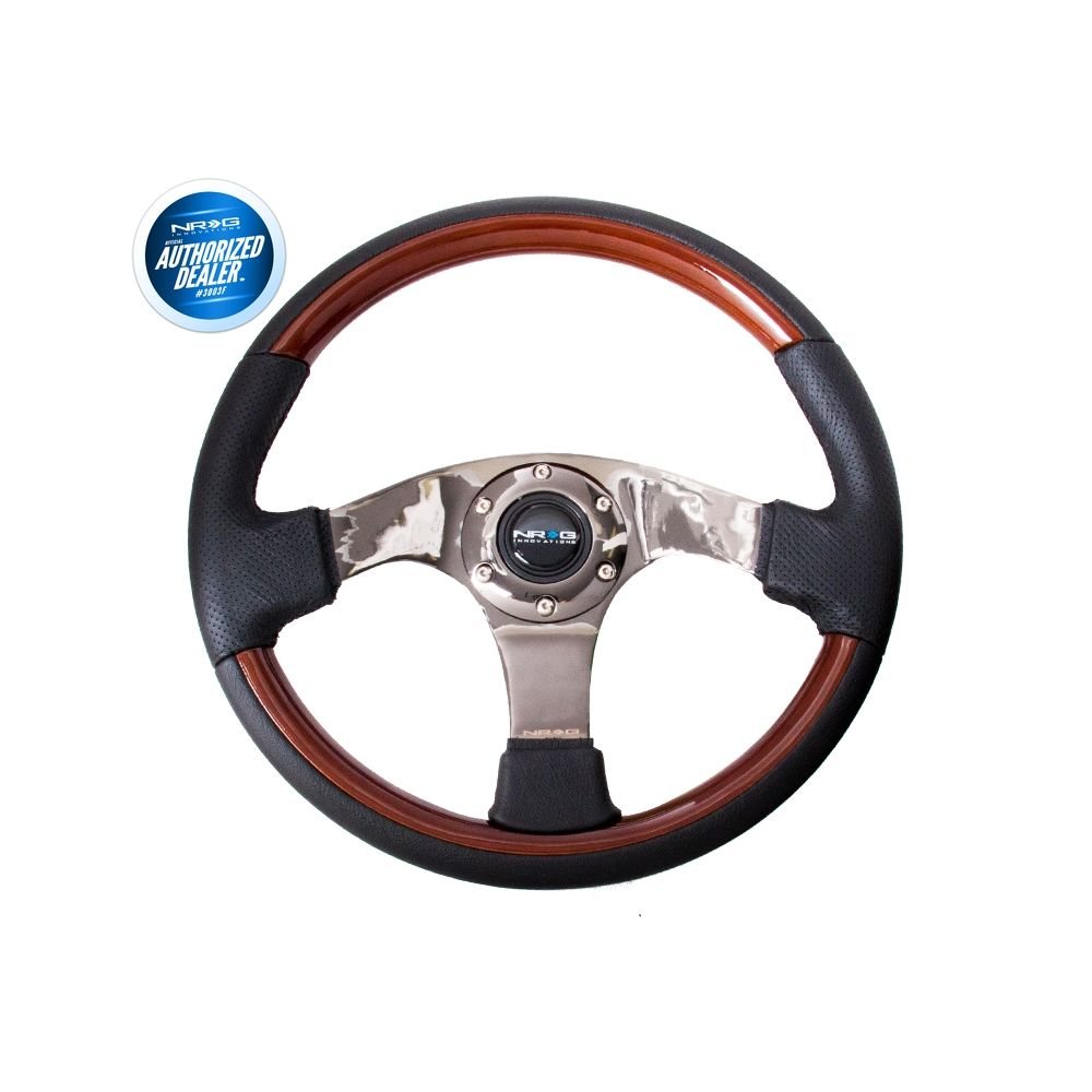 NRG ® - Leather Steering Wheel with Wood Accents and Black Spoke Center (ST-025BK)