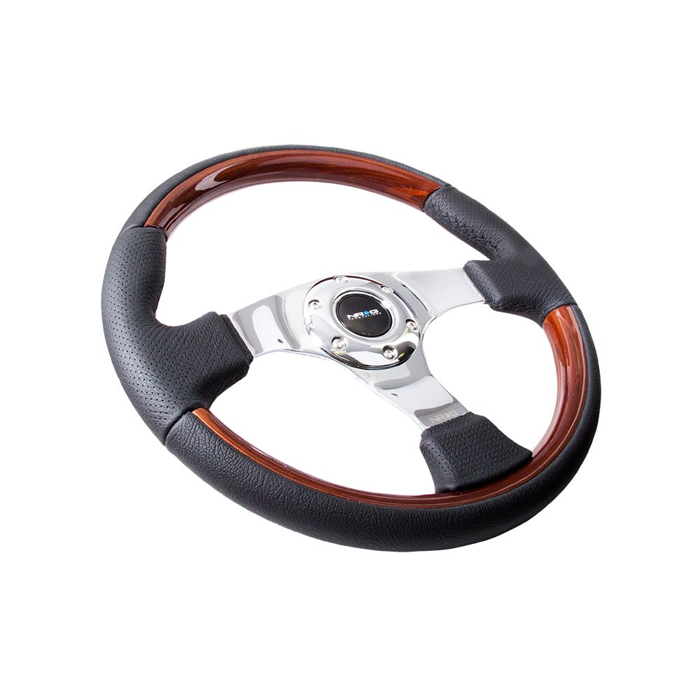 NRG ® - Leather Steering Wheel with Wood Accents and Chrome Spoke Center (ST-025CH)