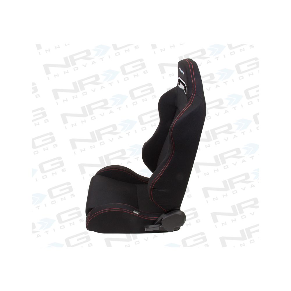NRG ® - Left Black Cloth Type R Sport Racing Seat with Red Stitch and NRG Logo (RSC-200L)