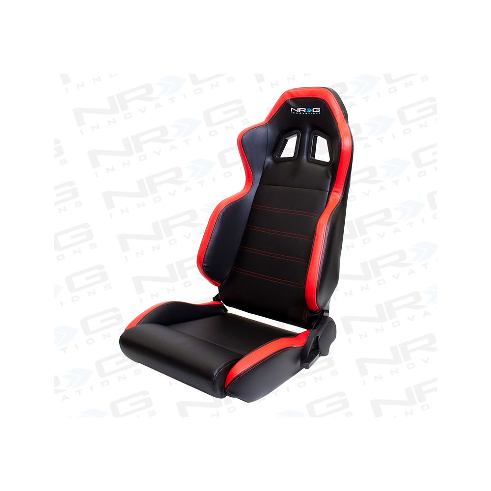 NRG ® - Left Black PVC Sport Racing Seat with Red Stitch, Side Contrast and NRG Logo (RSC-206L)