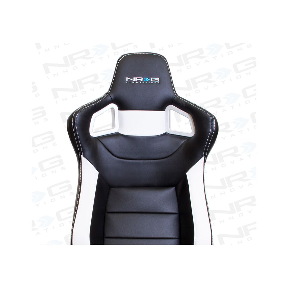 NRG ® - Left Black PVC Sport Racing Seat with White Stitch and NRG Logo (RSC-700L)