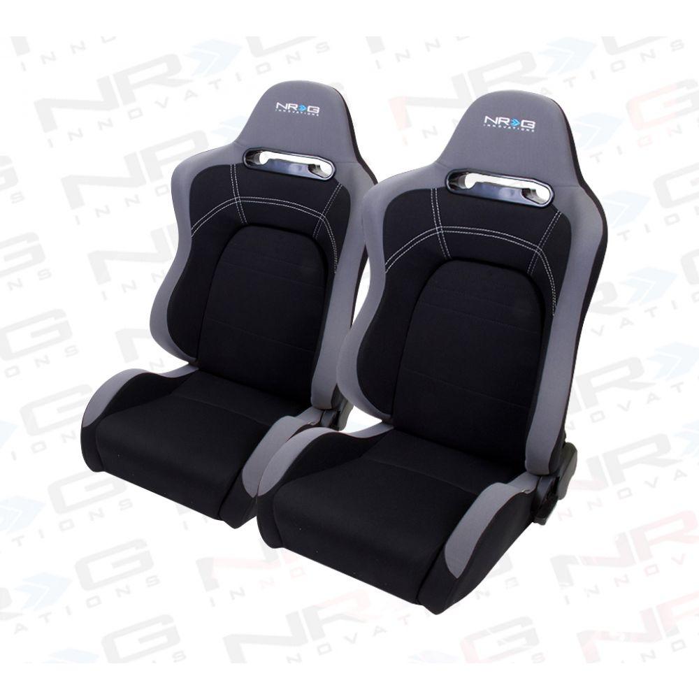 NRG ® - Right and Left Black Cloth EVO Style Sport Racing Seats (RSC-100R/RSC-100L)