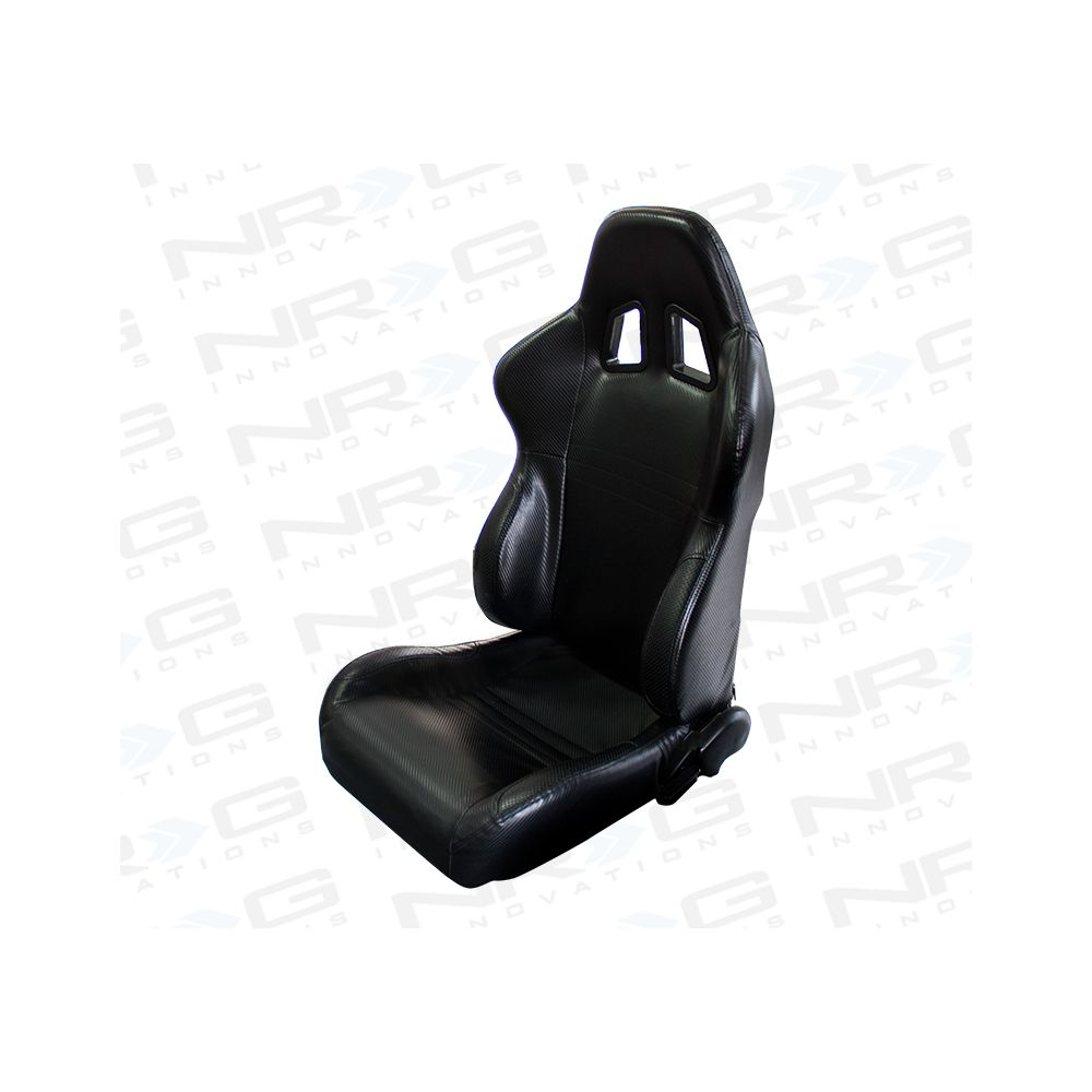 NRG ® - Right and Left Black PVC leather Sport Racing Seats with Black Trim and NRG Logo (RSC-204R/RSC-204L)