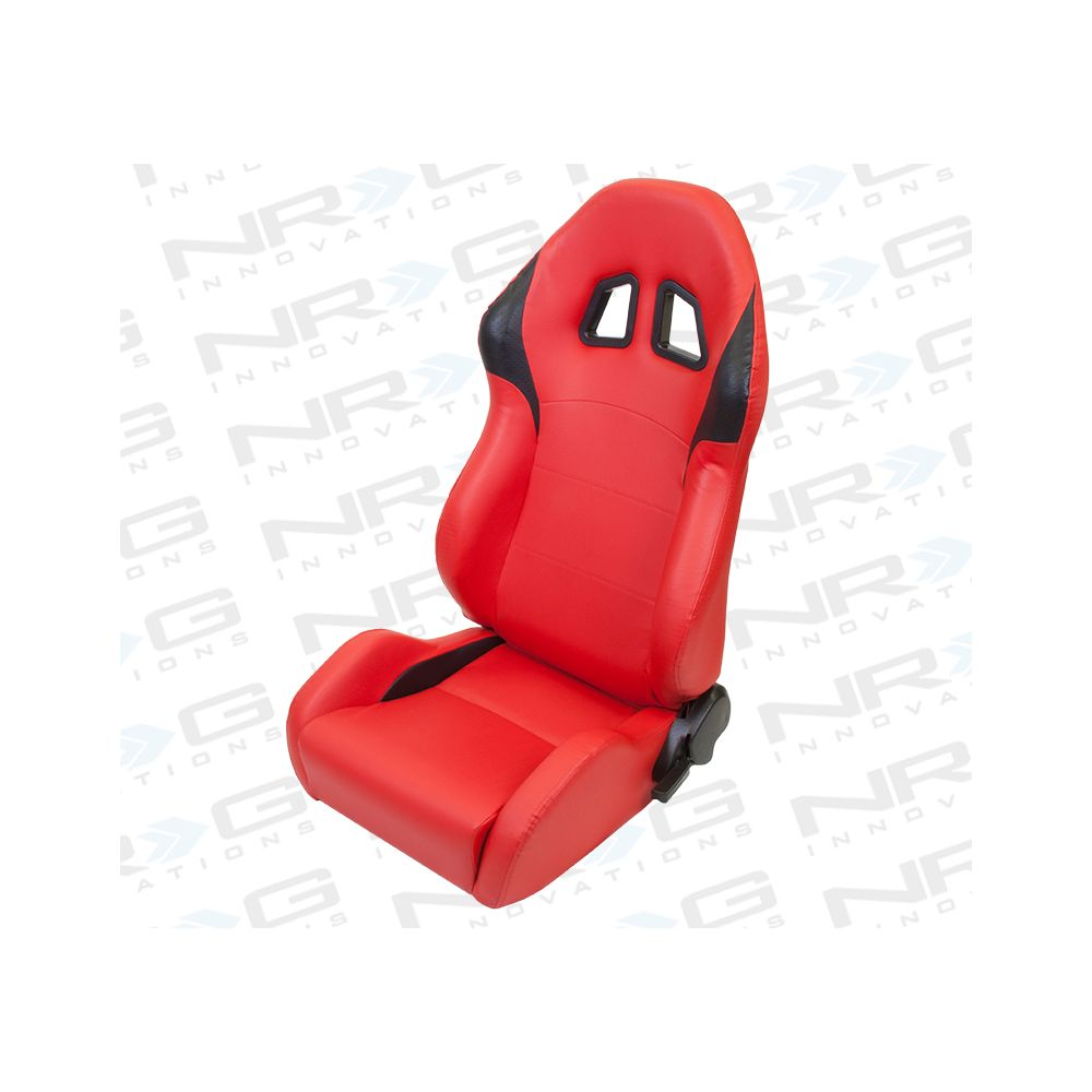 NRG ® - Right and Left Red PVC leather Sport Racing Seats with Black Trim (RSC-202R/RSC-202L)