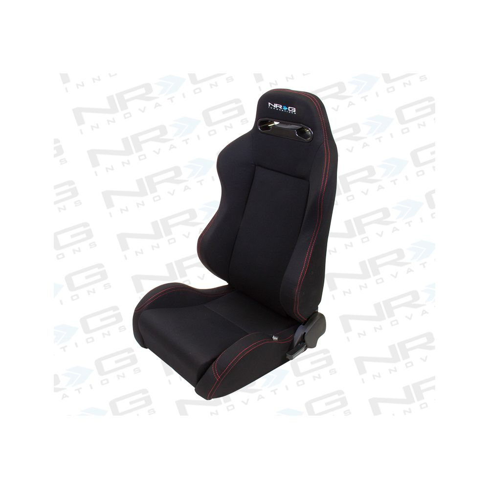 NRG ® - Right Black Cloth Type R Sport Racing Seat with Red Stitch and NRG Logo (RSC-200R)