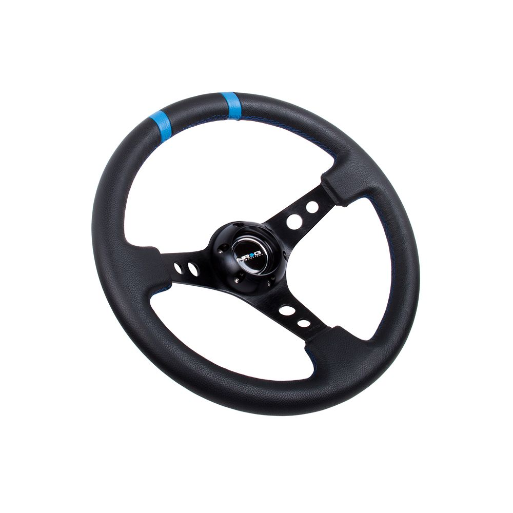 NRG ® - Sport Black Leather Steering Wheel 3 Inch Deep with Black Spokes and Blue Double Markings (ST-016R-BK)