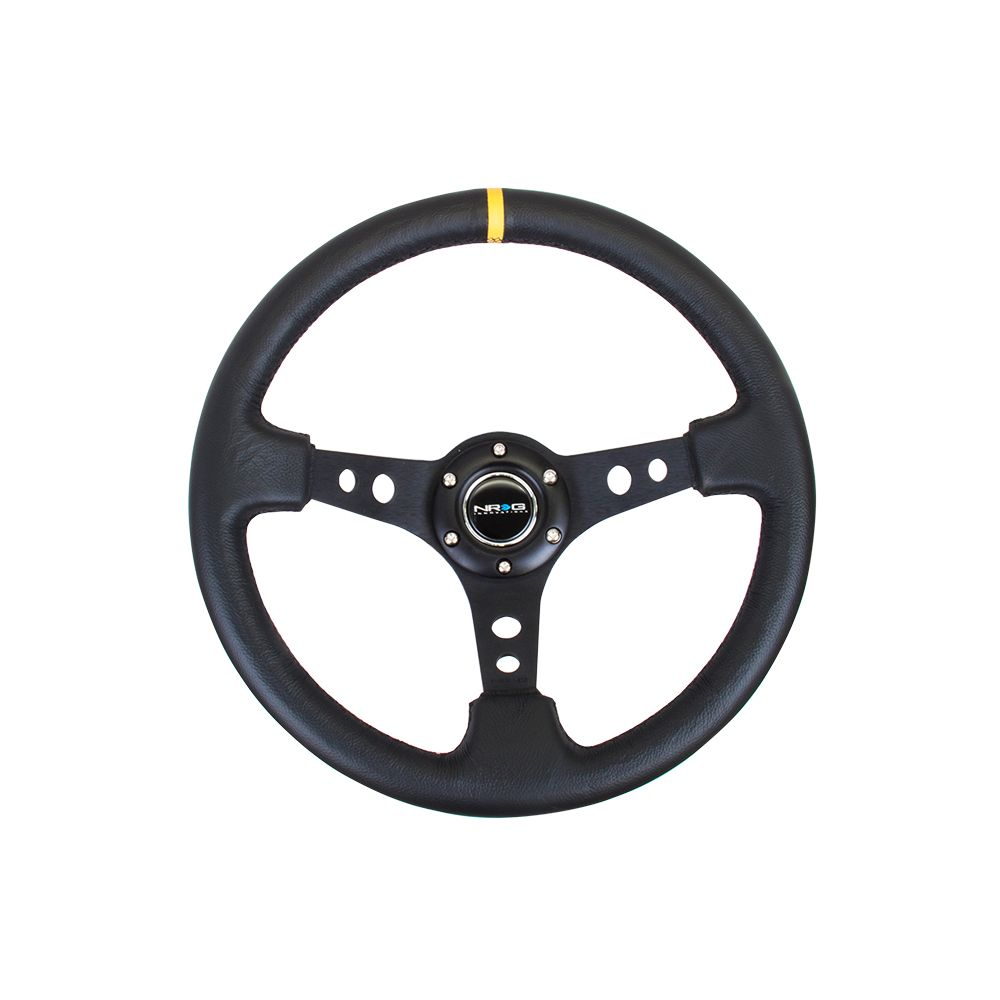 NRG ® - Sport Black Leather Steering Wheel 3 Inch Deep with Black Spokes and Yellow Marking (ST-006BK-Y)