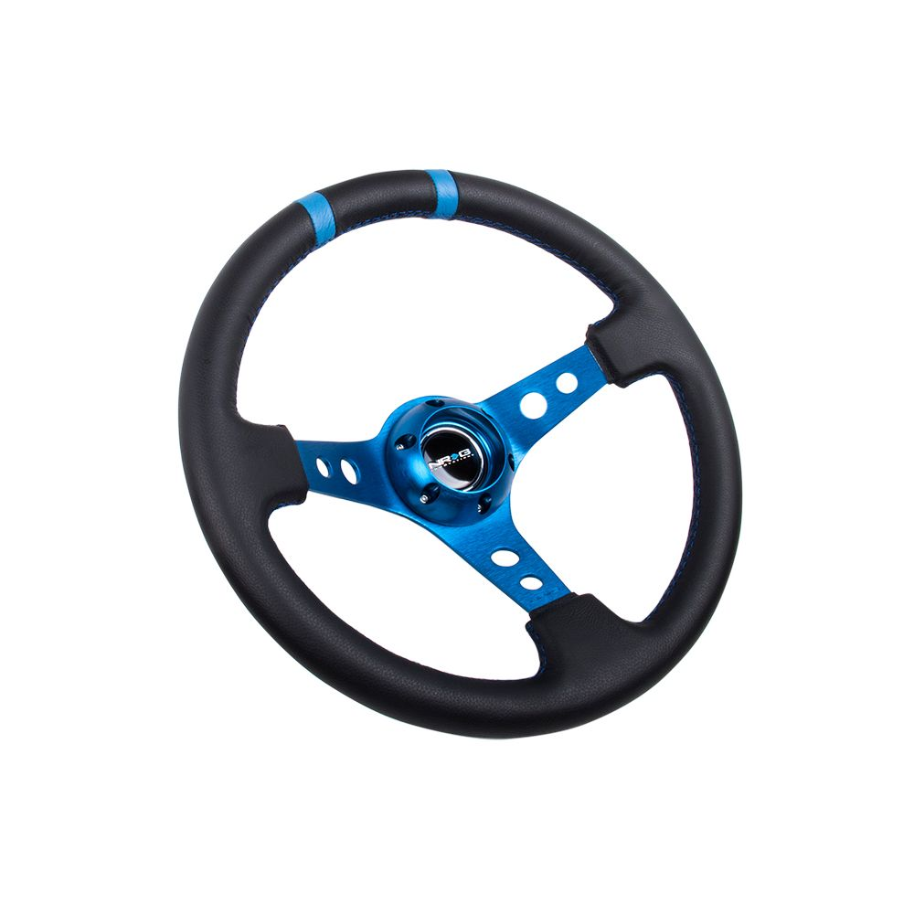 NRG ® - Sport Black Leather Steering Wheel 3 Inch Deep with Blue Spokes and Double Markings (ST-016R-BL)