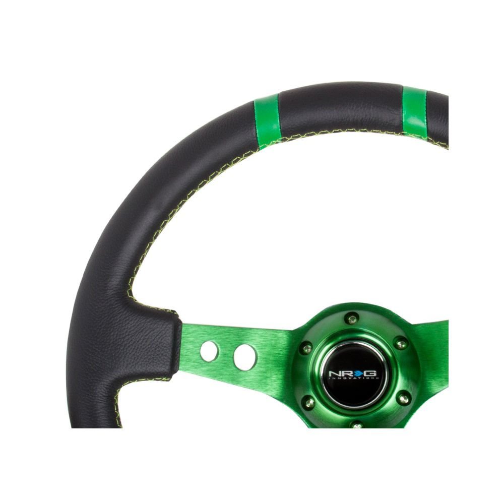 NRG ® - Sport Black Leather Steering Wheel 3 Inch Deep with Green Spokes and Double Markings (ST-016R-GN)