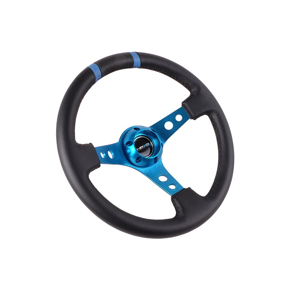 NRG ® - Sport Black Leather Steering Wheel 3 Inch Deep with New Blue Spokes and Blue Double Markings (ST-016R-NB)