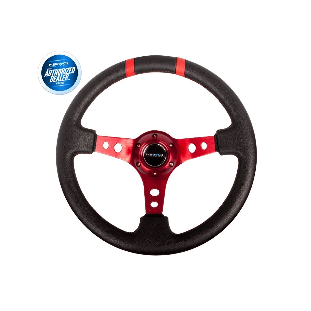 NRG ® - Sport Black Leather Steering Wheel 3 Inch Deep with Red Spokes and Double Markings (ST-016R-RD)