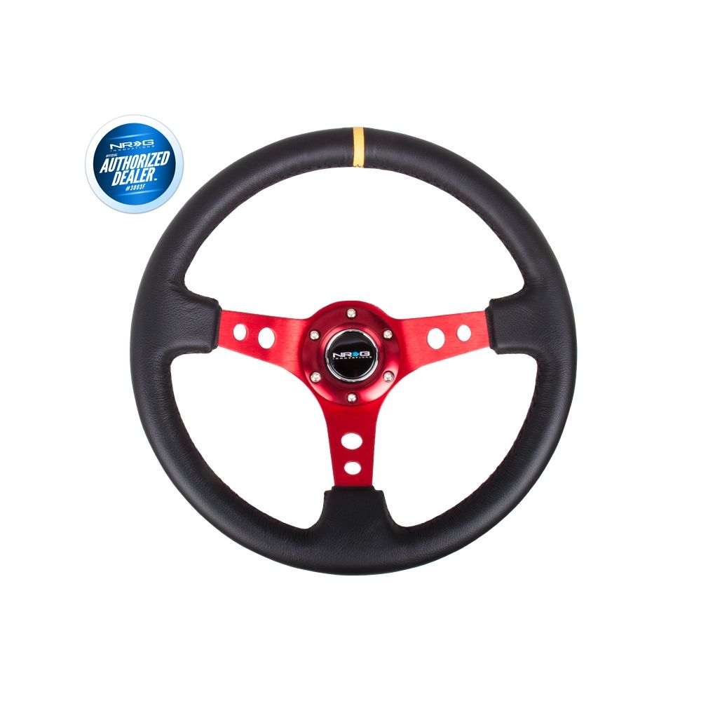 NRG ® - Sport Black Leather Steering Wheel 3 Inch Deep with Red Spokes and Yellow Marking (ST-006RD-Y)