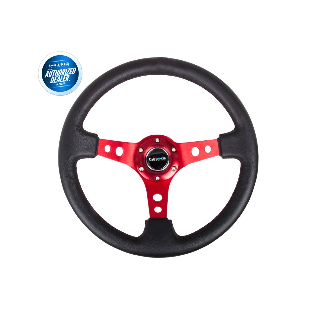 NRG ® - Sport Black Leather Steering Wheel 3 Inch Deep with Red Spokes (ST-006RD)