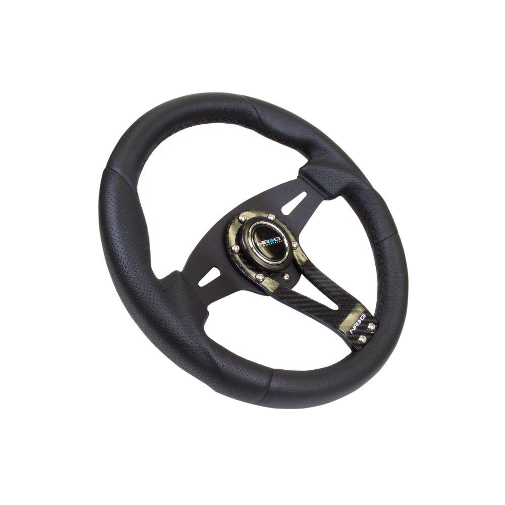 NRG ® - Sport Black Leather Steering Wheel with Carbon Center Spoke (ST-002RCF)