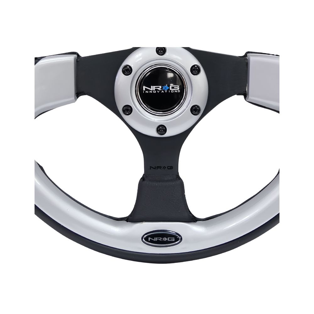 NRG ® - Sport Black Leather Steering Wheel with Silver Inserts (RST-001SL)
