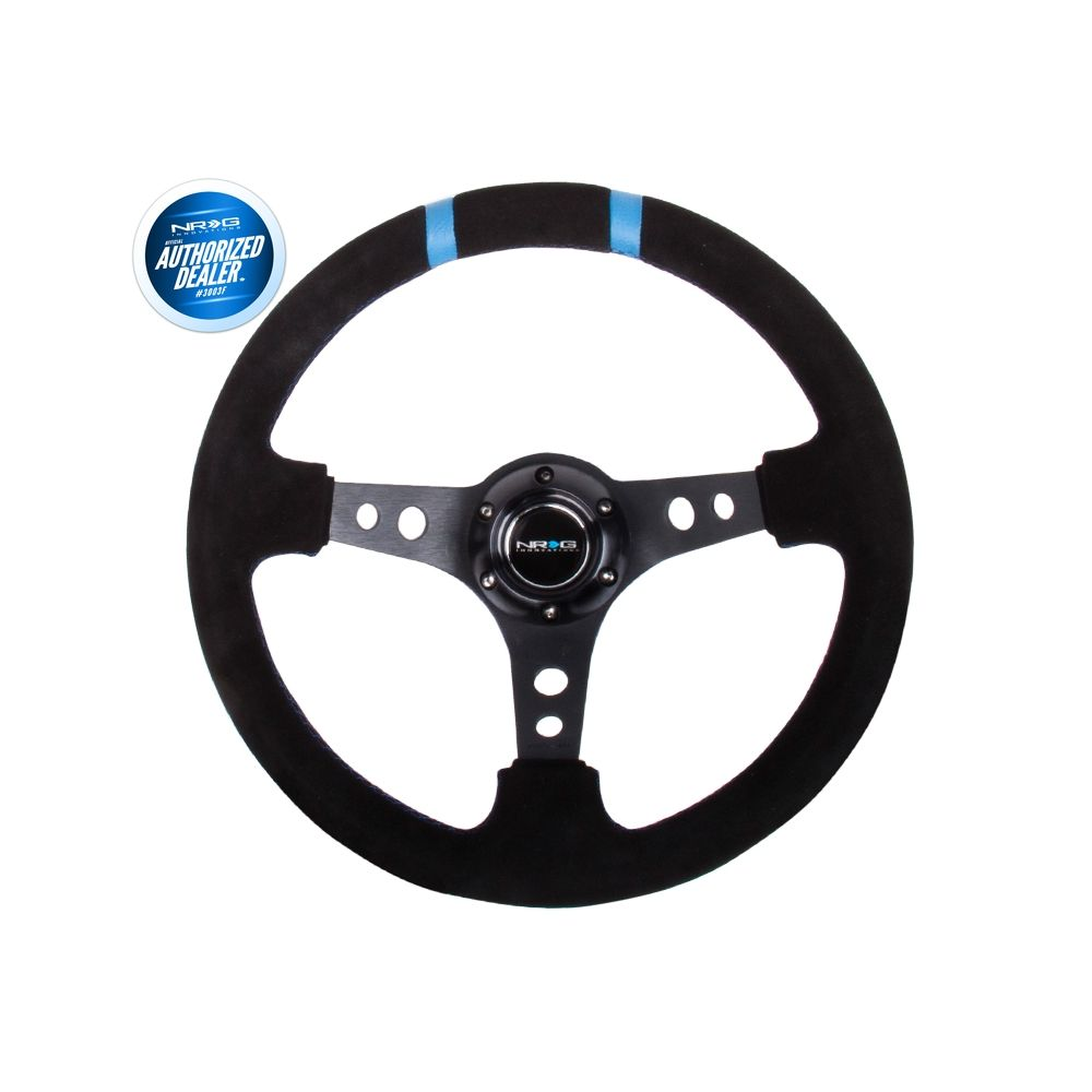 NRG ® - Sport Black Suede Steering Wheel 3 Inch Deep with Black Spokes and Blue Double Markings (ST-016S-BK)