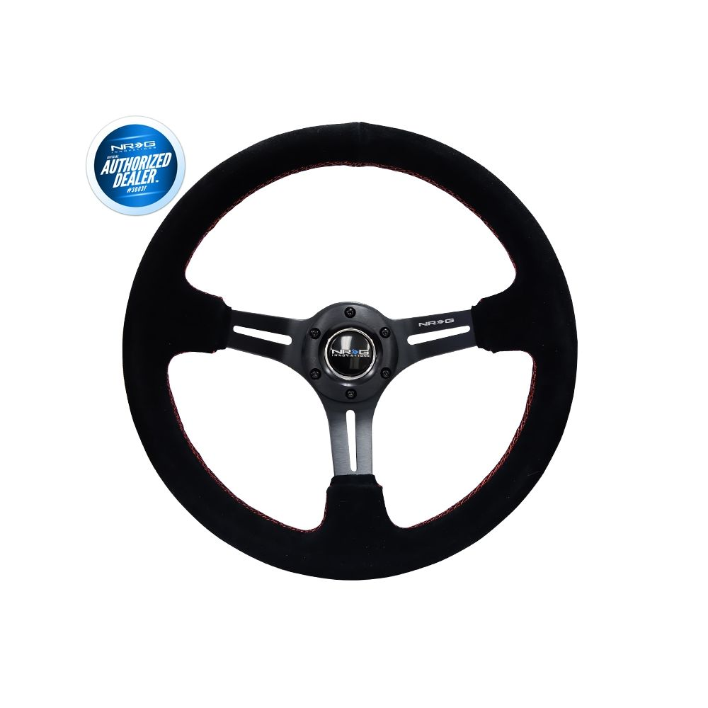 NRG ® - Sport Black Suede Steering Wheel 3 Inch Deep with Red Stitching (RST-018S-RS)
